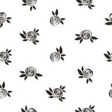 Seamless polka dot floral pattern with scrible  roses. Royalty Free Stock Photos