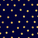 Seamless polka dot golden pattern Stock Images