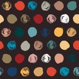 Seamless messy polka dot pattern on black Royalty Free Illustration