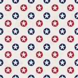 Seamless polka dot pattern with stars. In american national flag colour gamut. Vector illustration, EPS 10 Stock Photo