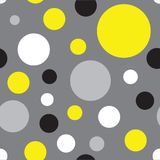 Seamless Polka Dot Pattern Background in black, yellow and grey vector illustration