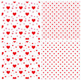 Seamless polka dot red pattern with hearts. Vector. repeating te Stock Images