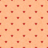 Seamless polka dot red pattern with hearts. Vector Stock Photography