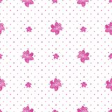 Seamless Polka Dot Texture with lily flowers.White background stock illustration