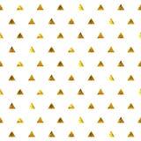 Seamless polka dot triangles golden pattern. Stock Photos