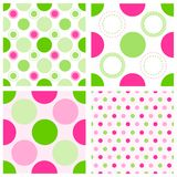Seamless polka dots. Cute pink and green seamless polka dots pattern. vector available Royalty Free Stock Photography