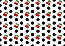 Seamless Polka Dots with Cherries Pattern Vector Art Royalty Free Stock Image