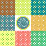 Seamless polka dots. Collection of vector backgrounds in retro style. Set of multicolored polka dot pattern for design scrapbooking design, web pages, wallpapers Stock Image