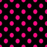 Seamless polka dots pattern vector background vintage retro abstract design colorful art with circle shapes black pink Royalty Free Stock Photo