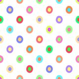 Seamless polka dots pattern vector background vintage retro abstract design colorful art with circle shapes Stock Images