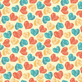 Seamless polygon heart colorful pattern Royalty Free Stock Photos