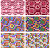 Seamless polygonal abstract pattern. Vector set of 6. Stock Photo