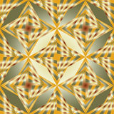 Seamless Polygonal Green and Gold Pattern. Geometric Abstract Background.  Royalty Free Stock Photos