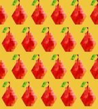 Seamless polygonal pears pattern on a golden yellow background. 8bit flat style. Trendy edgy geometric simple and stylish seamless pattern bright colorful red Vector Illustration