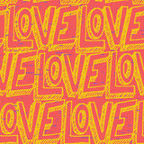 Seamless pop art pattern, repeating doodle LOVE lettering for Va Royalty Free Stock Photography