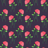 Seamless poppy bloom pattern background Stock Photo
