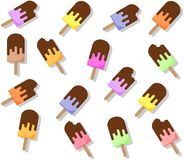 Seamless popsicle pattern. Flat candy background Stock Photo