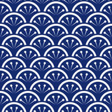 Seamless porcelain indigo blue and white japanese floral waves pattern vector vector illustration