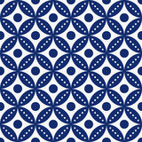 Seamless porcelain indigo blue and white vintage classical round laces pattern vector vector illustration