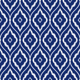 Seamless porcelain indigo blue and white vintage persian ikat pattern vector stock illustration