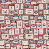 Seamless post and mail pattern Stock Photos