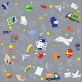 Seamless post pattern. Seamless email pattern done in a cartoon style Royalty Free Stock Image