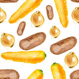 Seamless potatoes carrots and onions. On a white background Stock Photography
