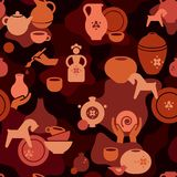 Seamless pottery pattern with vases and others ceramic. Clay horse, women, and other dishes. Pottery seamless pattern with the hands of an artisan, a ceramic royalty free illustration