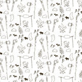 Seamless prehistorical pattern in cartoon style Stock Photography
