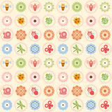 Seamless Pretty Bugs. Vector seamless pattern with flowers, bee, bugs, dragonfly, snail and butterflies Royalty Free Stock Images