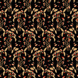 Seamless pretty flower berry dark pattern Royalty Free Stock Images
