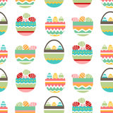 Seamless pretty pattern with stylized birds and nests. Stock Photos