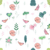 Seamless pretty pattern with stylized trees,foxes and birds. Stock Photos