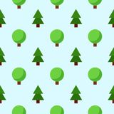 Seamless firs and trees pattern. Seamless primitive flat style firs and green trees pattern on light blue background Royalty Free Stock Images