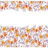 Seamless primitive floral banner frame. Cute flowers, ditsy leaves. Watercolour. Seamless primitive floral banner frame. Cute flowers and naive leaves Stock Images