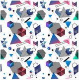 Seamless primitive geometric patterns of minimalism. The era 80`s - 90`s years design style. Randomly scattered geometric shapes. Rectaingel, circles, waves Stock Photography