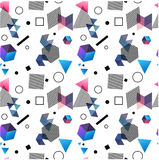 Seamless primitive geometric patterns of minimalism. The era 80`s - 90`s years design style. Randomly scattered geometric shapes. Rectaingel, circles, waves Royalty Free Stock Image