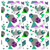 Seamless primitive geometric patterns of minimalism. The era 80`s - 90`s years design style. Randomly scattered geometric shapes. Rectaingel, circles, waves Royalty Free Stock Photo