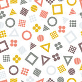 Seamless primitive geometric patterns with squares, triangles and circles for tissue and postcards. Trendy geometric elements. Hipsters modern color background Royalty Free Stock Photo