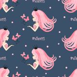 Seamless princess pattern with beautiful girls and butterflies. On dark blue Royalty Free Stock Photos