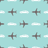 Seamless print with airplanes and cars Royalty Free Stock Photo