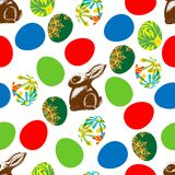 Seamless print of chocolate hare and Easter stock illustration