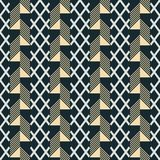 Seamless print of patterned wide vertical stripes. Seamless abstract print of alternating patterned wide vertical stripes. Criss-cross segments and rectangular Stock Images