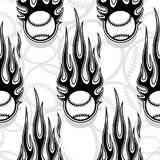 Seamless vector pattern with baseball softball ball icon and flame. Seamless printable pattern with baseball softball balls and hot rod flames. Vector Stock Photos