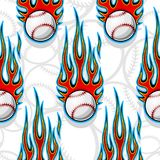 Seamless vector pattern with baseball softball ball icon and flame. Seamless printable pattern with baseball softball balls and hot rod flames. Vector Royalty Free Stock Images