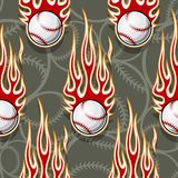 Seamless vector pattern with baseball softball ball icon and flame. Seamless printable pattern with baseball softball balls and hot rod flames. Vector Royalty Free Stock Photography