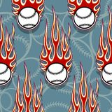 Seamless vector pattern with baseball softball ball icon and flame. Seamless printable pattern with baseball softball balls and hot rod flames. Vector Royalty Free Stock Photos