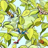 Seamless psttern of branches with leaves and bees. And butterflies Royalty Free Stock Images