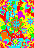 Seamless psychedelic hippie pattern. Repeating psychedelic background pattern from the hippie era of 1960s and 1970s for wallpaper, cards, scrapbook page stock illustration
