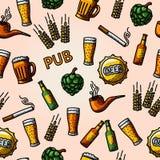 Seamless pub - beer handdrawn pattern. Vector Stock Image